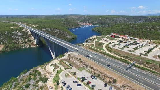 Thumbnail for Aerial View Of Krka Bridge Highway, Croatia 2