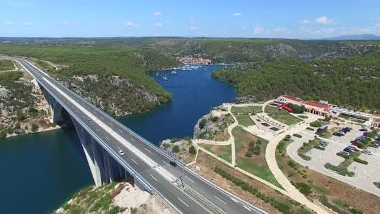 Thumbnail for Aerial View Of Krka Bridge Highway, Croatia 3
