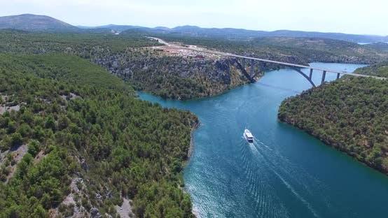 Thumbnail for Aerial View Of Boat Sailing Towards Krka Bridge, Croatia 3