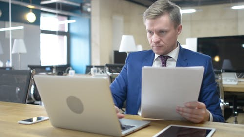 Office Work w/ Laptop, Documents, Tablet