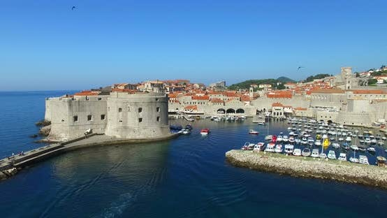 Thumbnail for Aerial View Of Old Town Harbour In Dubrovnik 1