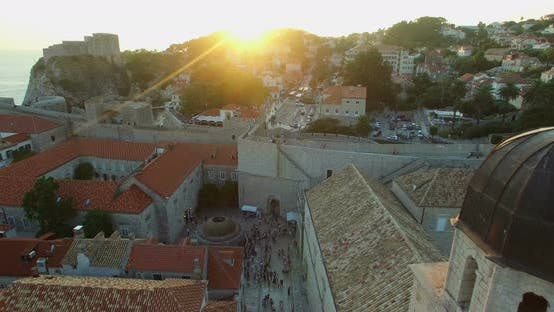 Thumbnail for Aerial View Of Tourists Walking On Stradun At Sunset 8