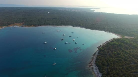 Thumbnail for Aerial View Of Yachts In Slatinica Bay At Olib Island In Croatia 2