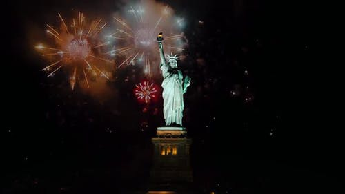 Statue of Liberty on Independence Day or Other Celebrate Firework Background