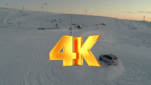 Thumbnail for Car Drifting On Snow, Aerial View