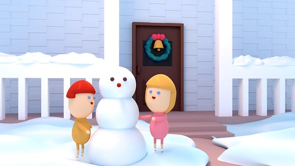 Cover Image for 3D Cartoon Kids Building A Snowman For Christmas