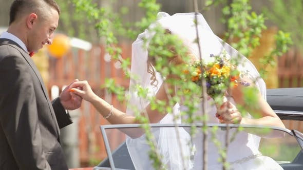 Thumbnail for Groom Assisting Bride In Disembarking Car