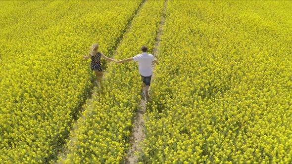 Thumbnail for Affectionate Man And Woman Holding Hands While Running On Oilseed Rape Farm