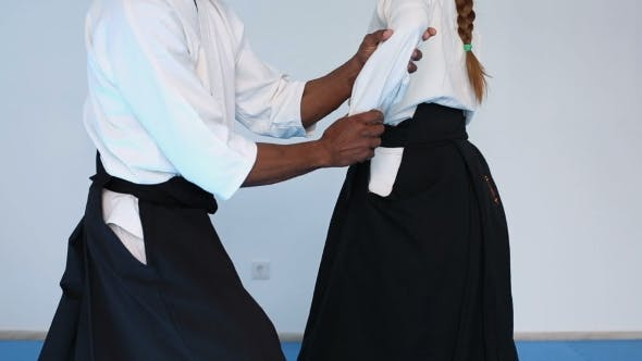 Thumbnail for Two Persons In Black Hakama Practice Aikido On Martial Arts Training