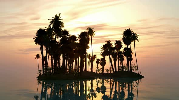 Thumbnail for Sea Sunset With Island And Palm Trees 1