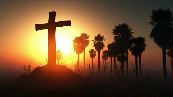 Thumbnail for Cross Silhouette With Palms And Glowing Sun 1