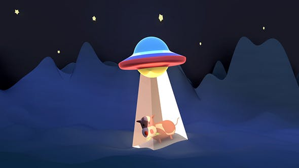 3D Cartoon UFO Cow Abduction