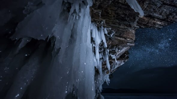 Thumbnail for Star Sky At Night Through Ice Cave