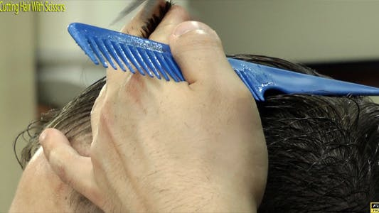 Thumbnail for Barber Cutting Hair With Scissors