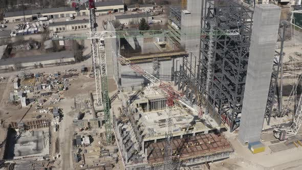 Thumbnail for Large Construction Site with Tall Cranes
