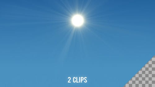 Shining Sun with Rays - 2 Clips