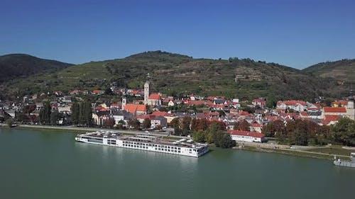 Aerial of Krems, Wachau Valley, Austria.