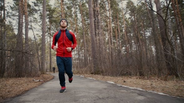 Thumbnail for Man Running In Forest Woods Training