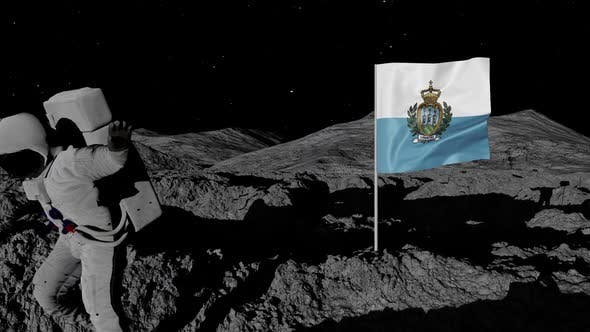 Astronaut Planting San Marino Flag on the Moon