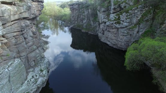 Thumbnail for River Flowing Between Rocks Aerial View