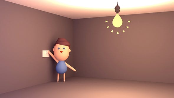 Thumbnail for 3D Cartoon Kid Playing With Light Switch