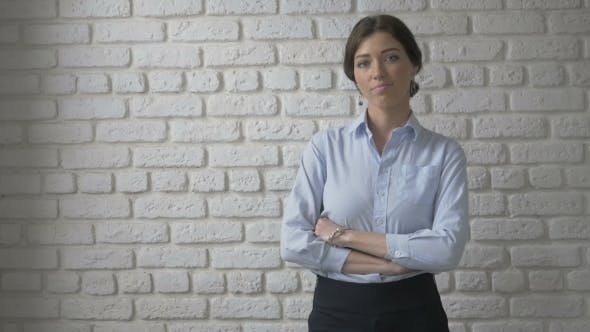 Thumbnail for Portrait Of Pretty Sexy Woman Looking At Camera. White Brick Wall Background
