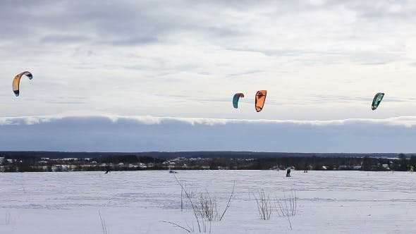 Thumbnail for Winter Snowkiting On The Field