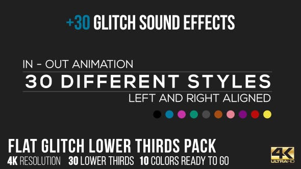 Cover Image for Flat Glitch Lower Thirds + 30 Glitch Sound Effects