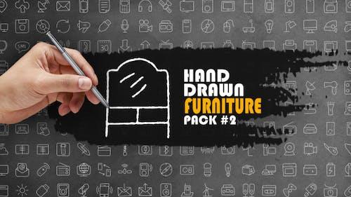 Lot de 2 meubles dessinés à la main