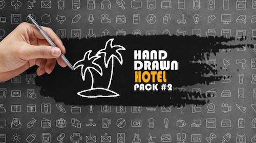 Lot de 2 hôtels dessinés à la main