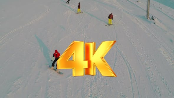 Thumbnail for Aerial View Of Skiers And Snowboarders