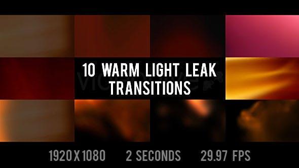 Warm Light Leak Transitions - 10 Pack