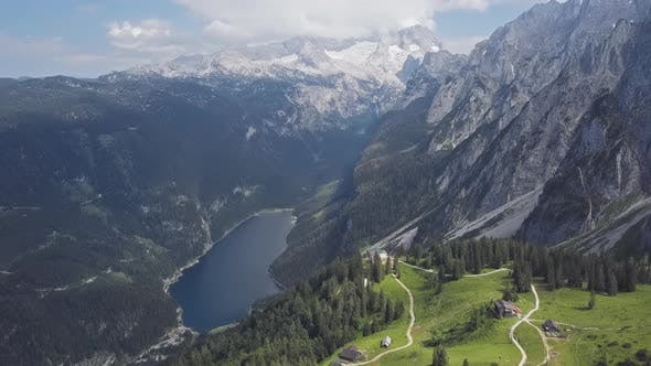 Aerial of Gosaukamm and Gosausee, Austria