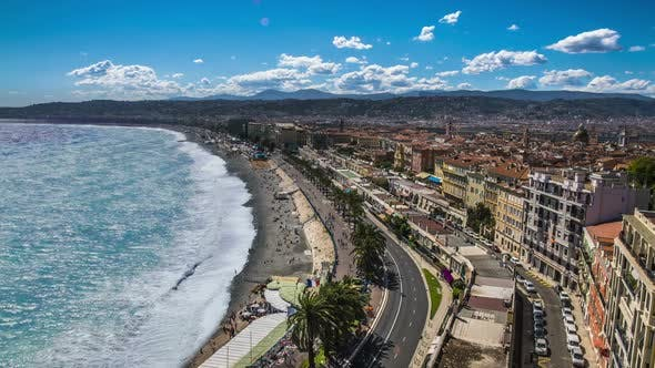 Thumbnail for Aerial View of Public Beach and Sea With Foamy Waves Rolling on Coast, Timelapse