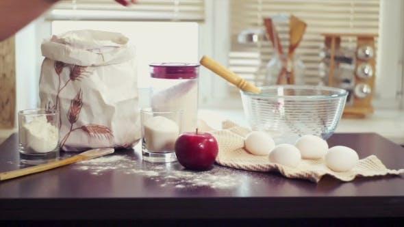 Baking Ingredients. Preparing Food Ingredients For Baking Cake. Baking Apple Pie