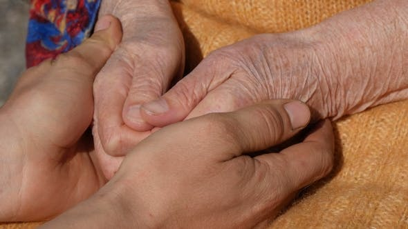 Thumbnail for A Young Dirty Working Male Hands Comforting An Elderly Pair Of Hands Of Grandmother
