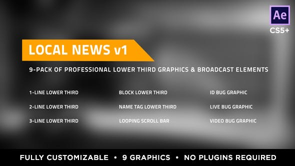 Thumbnail for Local News Elements Lower Third Package