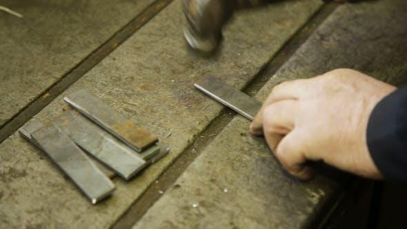 Thumbnail for Steel Hammer On Metal Plate.