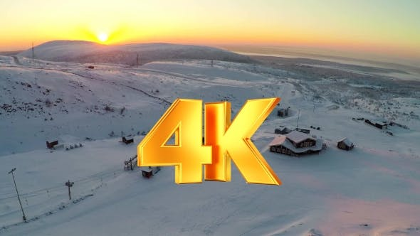 Thumbnail for Flying Over Ski Resort In The North At Sunset