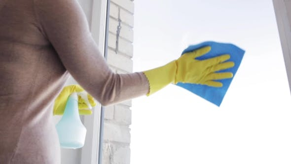 Thumbnail for Woman In Gloves Cleaning Window With Rag 71