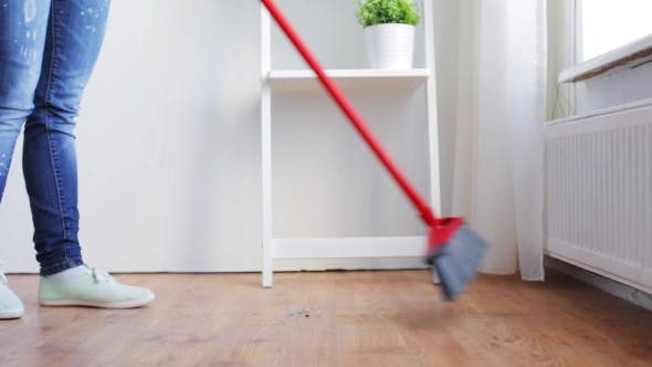 Thumbnail for Woman With Broom Cleaning Floor At Home 87