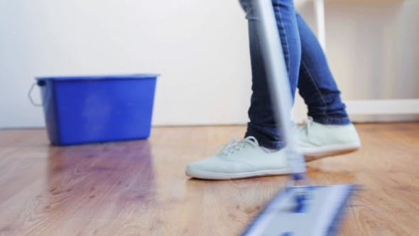 Thumbnail for Woman With Mop Cleaning Floor At Home 96