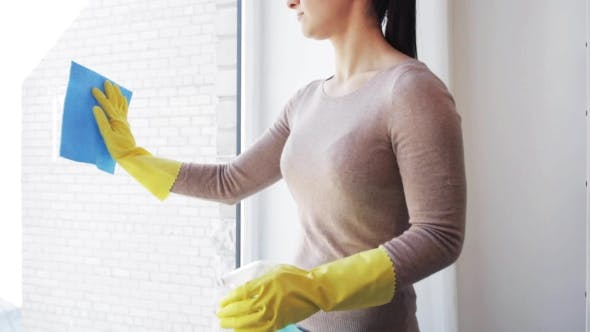Thumbnail for Woman In Gloves Cleaning Window With Rag 68