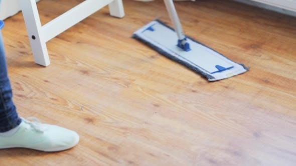 Thumbnail for Woman With Mop Cleaning Floor At Home 36
