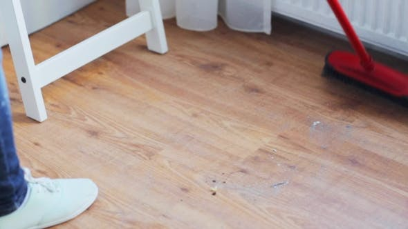 Thumbnail for Woman With Broom Cleaning Floor At Home 29