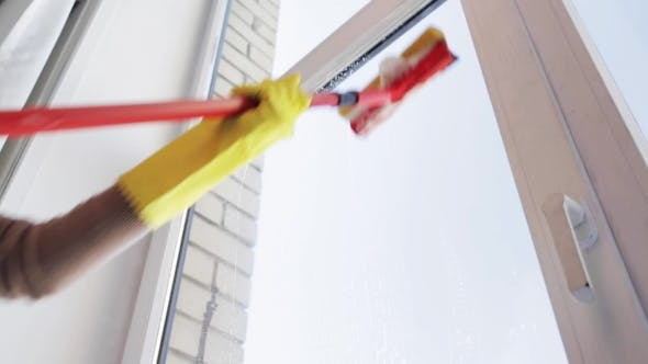 Thumbnail for Hands With Sponge Mop Cleaning Window At Home 81