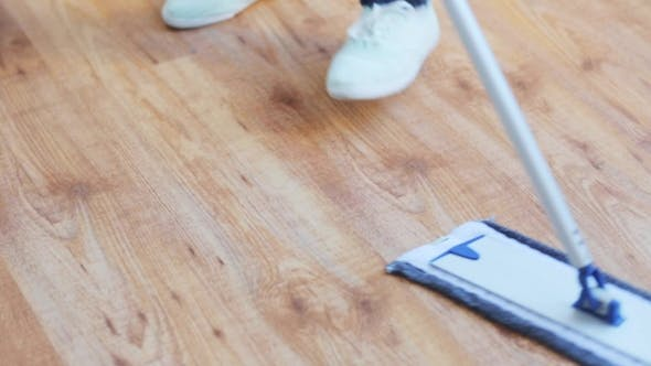 Thumbnail for Woman With Mop Cleaning Floor At Home 38