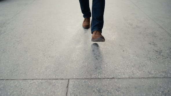 Thumbnail for Walking On Concrete:  View Of Man's Leather Shoes