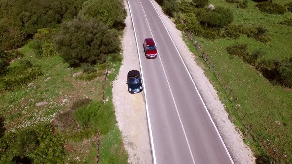 Thumbnail for Aerial View From Above On The Road With Cars