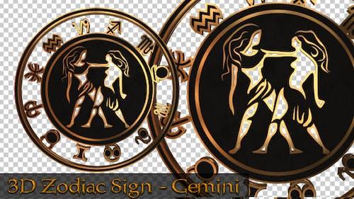 3D Zodiac Sign - Gemini